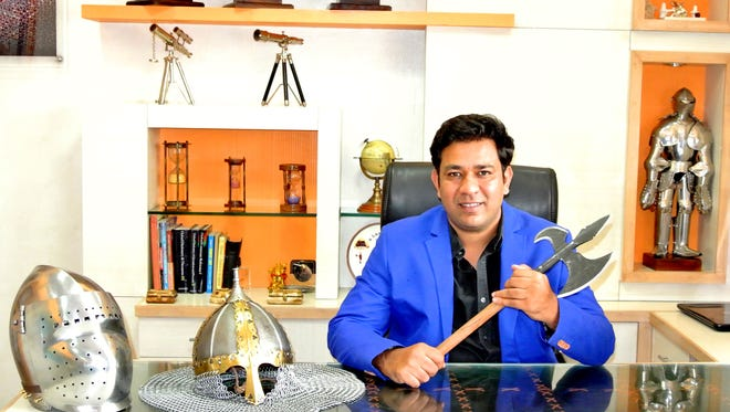 Saurabh Mahajan's company, Lord of Battles, supplies medieval armor, weapons and other artifacts to film and theater production companies all over the world.