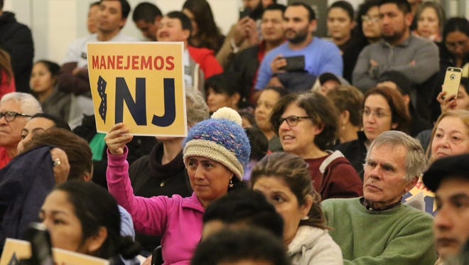 More than 200 people who gathered at Snyder Academy in Elizabeth, Thursday, January 11, 2018 to rally for undocumented people in New Jersey to have the right to obtain a drivers license. Outgoing governor, Chris Christie has spoken against it however, Phil Murphy, who will become governor next week, has different views than Christie on the subject.  If New Jersey passes the legislation it will become the 13th state to do so.  Washington D.C. also has similar legislation.