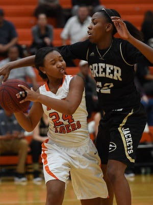 Diamon Shiflet, right, averaged 19.2 points and 7.4 rebounds and led Greer to the Region 2-AAAA championship this past season.