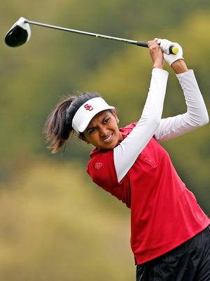 Former La Reina High golfer Divya Manthena, who is in her first season playing for USC, has made an impact on and off the golf course.