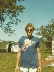 Jimm Goodrich wearing a Cubs t-shirt.