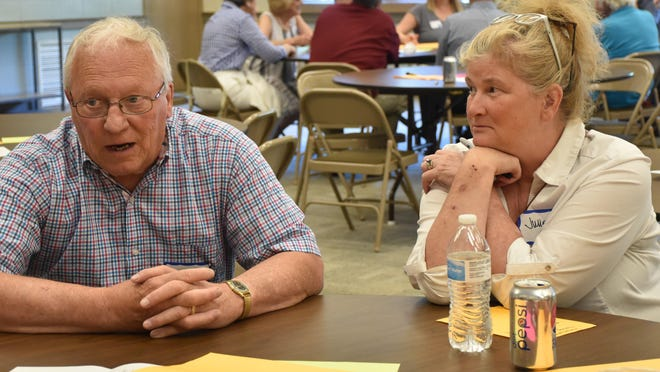 Community members discuss the issues surrounding the city of Green during the first of three Your Voice Ohio meetings in northeastern Ohio.