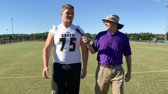 """Greer senior offensive lineman Bradly Thompson is featured in this week's edition of """"100 Yards with Bob Castello."""""""