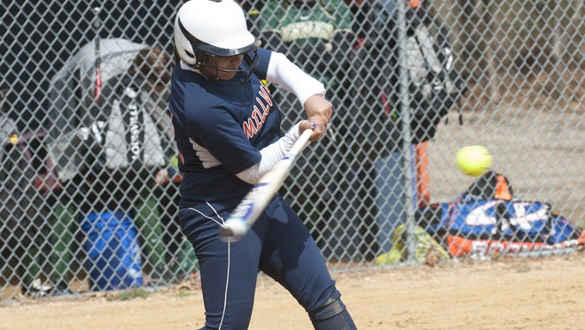 MIllville's Mahogany Wheeler swings against Schalick earlier this season. Wheeler and the Thunderbolts will find out their South Jersey Group 4 playoff seed on Monday, May 15.