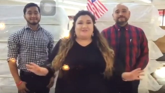 Three employees of Miracle Mattress addressing the camera during a controversial 9/11 commercial.