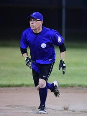Playing with youthful intensity is IPS player Pat Shugart, during a recent game at Claude Allison Park in Redford.