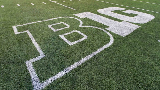The Big Ten logo on the field at Camp Randall Stadium following the game between the Northwestern Wildcats and Wisconsin Badgers.