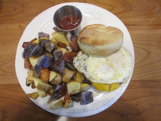 "The Wakey, Wakey, Egg and Bacey"" breakfast sandwich"