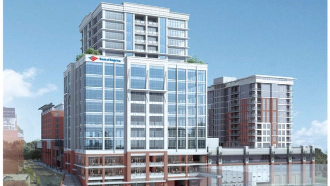 The announcement from bank spokeswoman Jennifer Darwin said Bank of America has signed along-term lease for approximately 32,000 square feet in the Camperdown office building, currently under construction at423 S. Main Street in Greenville.