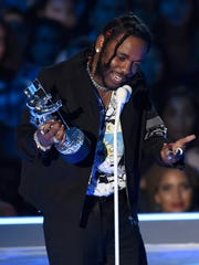 "Kendrick Lamar accepts the award for video of the year for ""HUMBLE."" at the MTV Video Music Awards."