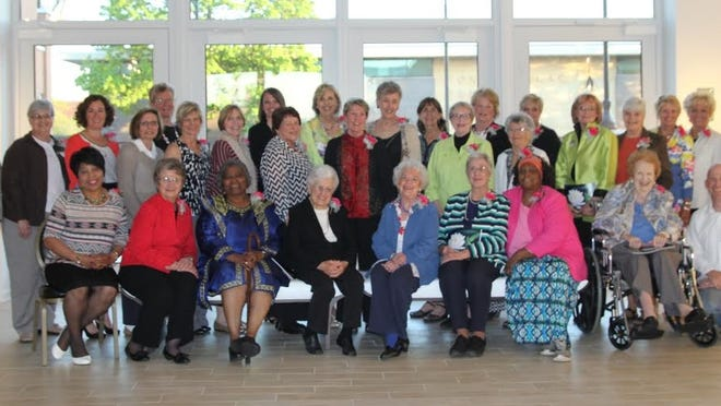 """Women who Inspire. Front row, from left are Pastor Beverly Haywood, Sister Judith Schmidt, Rev. Mary Council-Austin, Agnes Edwards, Ruthie McCarthy, Donna Kathryn Voell-Bieser, Rufus Frazier, Florence Walter, and Patrick Flood, son of honoree Ellen Flood, deceased. Second row: Daisy Frazier, Sister Jomarie Zielke, representing Mother Agnes Hazotte, deceased; Kathleen Doyle Kelly, Dawn Colwin, daughter of honoree Dorothy Klumpyan, deceased; Rae Nell Halbur, Lynn Roethke, Suzanne Boyle, daughter of honoree Elizabeth Ann Jagfeld Boyle; Bethany Rusch, Sharon Stormo, Valerie Thibaudeau Graczyk, also daughter of honoree May Murphy Thibaudeau, deceased; Catherine Zimmerman, Judy Goldsmith, Connie Ramthun, Sue Hierl, Carol Hyland, Betty Weyenberg, Sara Krueger-Zuengler, Linda Selk-Yerges, also representing honoree Victoria Broeder, deceased; Sister Jean Steffes, representing the Sisters of St. Agnes; Virginia """"Ginny"""" Gilmore, Gail Kraig and Katie Hornung. (Not pictured: Kate Candee, daughter of honoree Vi Candee, deceased; honorees Sally Herre, Barbara Lent, Winsome McIntosh, Marguerite Soffa, and Jo Ann Ward, who were unable to attend, as was the family of honoree Rosa Sergi, deceased)."""