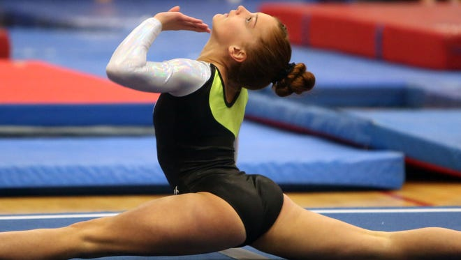 Clarkstown's Alexa Henshaw competes in the Floor Exercise during the Section 1 Gymnastics Championships at Carmel High School Feb. 8,  2018.