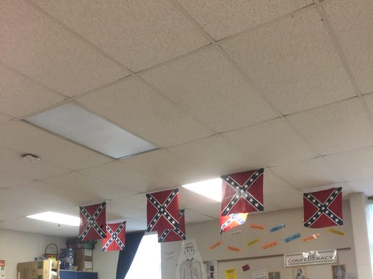 Confederate flags hanging in a Hayes Middle School classroom during a Civil War lesson this year.