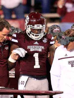Mississippi State wide receiver De'Runnya Wilson is OK, Dan Mullen said, after he went down Saturday against Alabama.