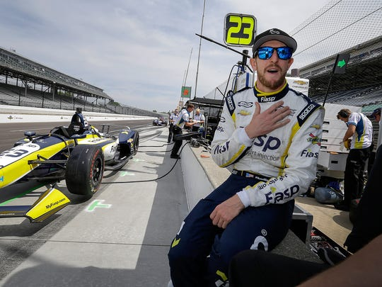 Team Carlin IndyCar driver Charlie Kimball (23) prepares hisself for practice for the Indianapolis 500 at the Indianapolis Motor Speedway on Thursday, May 17, 2018.