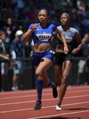 Allyson Felix in the 400 semifinals.