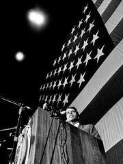 """Presidential aspirant Sen. Robert Kennedy delivers his address on the """"Destiny of Dissent"""" to an overflow crowd of more than 10,500 during the Impact Symposium at Vanderbilt University on March 21, 1968."""