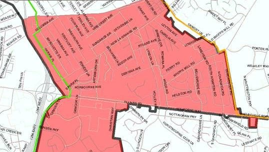 The areas in Louisville affected by a boil water advisory on July 21, 2018.