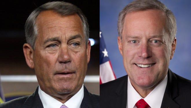 House Speaker John Boehner and U.S. Rep. Mark Meadows