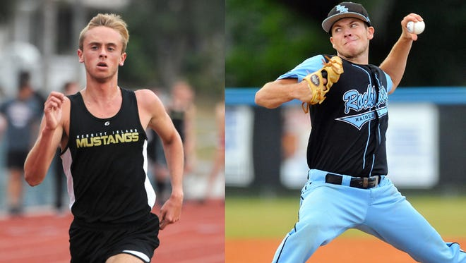 Steven Cross of Merritt Island (left) and Drew Parrish of Rockledge are Florida Dairy Farmer athletes of the year in their classes and sports.
