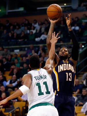 Paul George takes a shot during Wednesday's game against the Boston Celtics. The Pacers won 102-91.