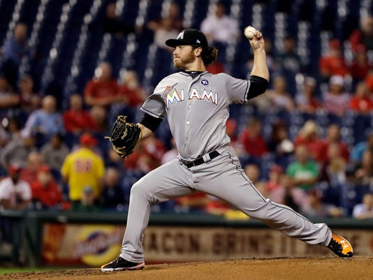 Miami Marlins' Dillon Peters pitches during the second inning of a baseball game against the Philadelphia Phillies, Tuesday, Sept. 12, 2017, in Philadelphia. (AP Photo/Matt Slocum)