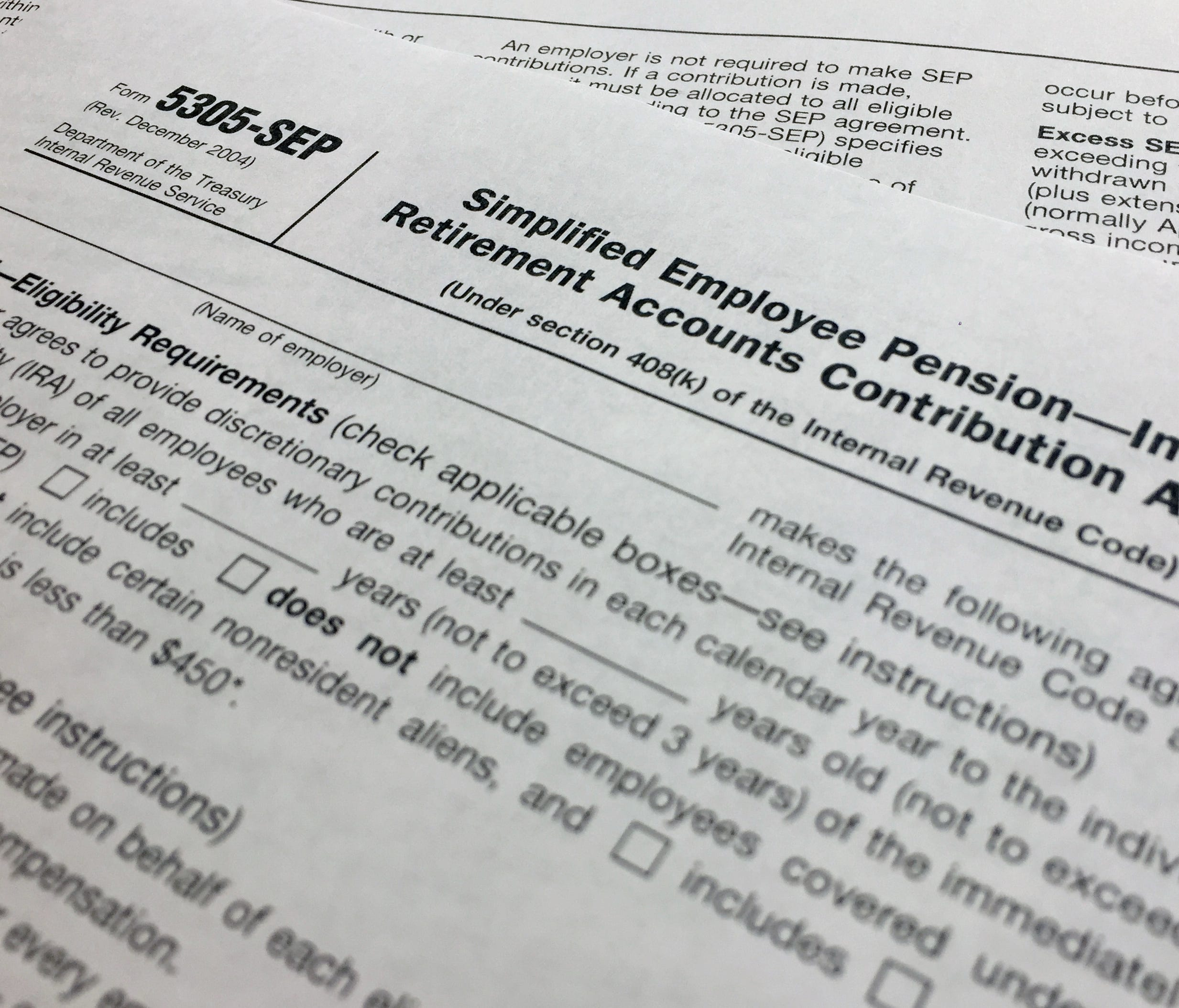 An IRS Form 5305, Simplified Employee Pension — Individual Retirement Accounts Contribution Agreement is shown in New York on Monday, April 2, 2018. If small business owners want to set up the least complex retirement plans for their employees, the S
