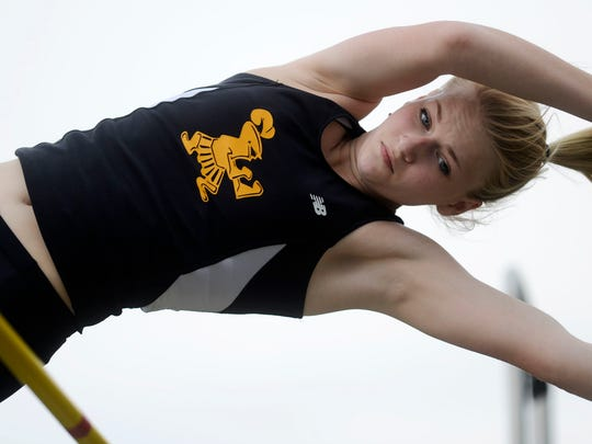 Delone's Grace Reidel competes in the girls' pole vault during the YAIAA Track and Field Championships on Friday. (Daily Record/Sunday News -- Kate Penn)