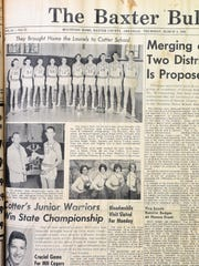 After winning the state basketball championship, the Cotter Junior Warriors were featured on the front page of The Baxter Bulletin in the March 4, 1965 issue.