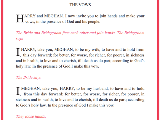 The vows for the royal wedding.