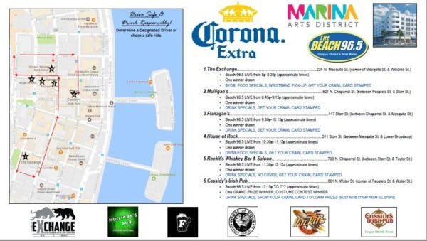 The Beach 96.5 radio station will host the 90s Pub Crawl that will include six stops along the walkable route through downtown Corpus Christi on Saturday.