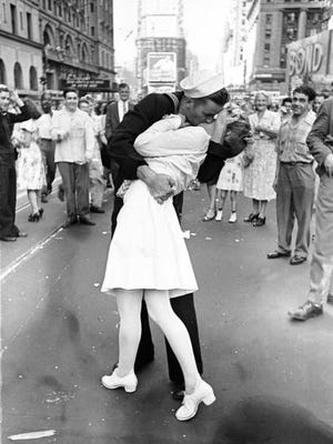 "Photographer Alfred Eisenstaedt's famous ""sailor kissing the nurse"" image from Times Square celebration of  V-J Day and the end of World War II."