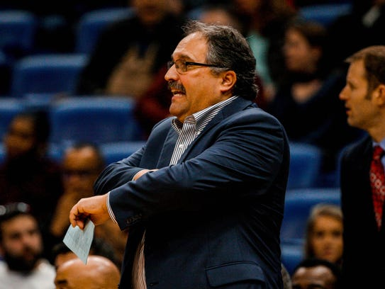 Pistons coach Stan Van Gundy watches action against the Pelicans on Jan. 8.