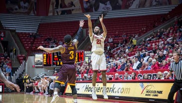 Ball State's Jeremie Tyler attempts the three point shot Tuesday night in a game against Central Michigan at Worthen Arena. Ball State won the game 98-83.