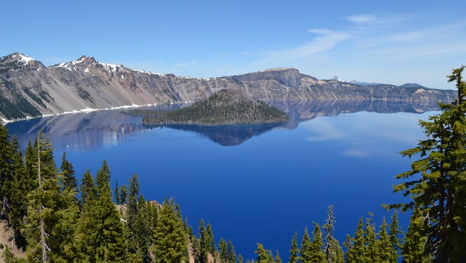 A view of Wizard Island from the lodge area at Crater Lake National Park.