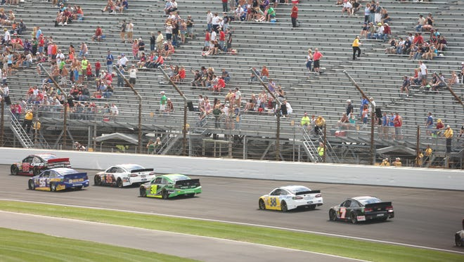 There were plenty of empty seats in the grandstand at Turn 1 of Indianapolis Motor Speedway for the 2013 Brickyard 400.
