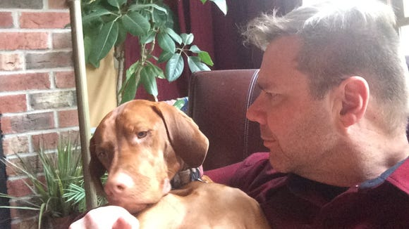 One of Bertie's endearing qualities: He crawls into a lap and makes himself at home.