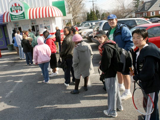 Lots of people always line up for their first water ice of the season at Rita's Water Ice. It's been a tradition for 20 years.