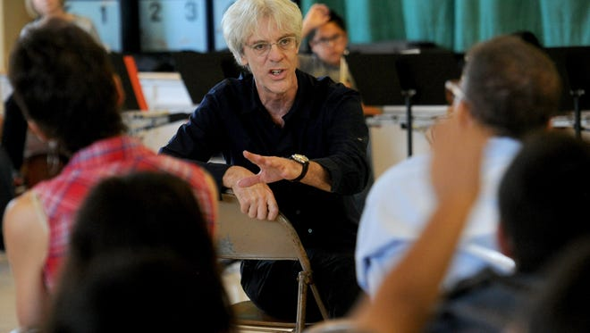 Stewart Copeland, former drummer of The Police, answers questions from the audience as he attends an after school percussion ensemble workshop by members of the New West Symphony Harmony Project of Ventura County band at Sheridan Way Elementary School in Ventura in April 2016.
