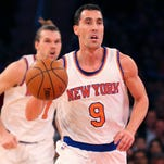 New York Knicks guard Pablo Prigioni (9) advances the ball during the second quarter against the Orlando Magic on Friday at Madison Square Garden.