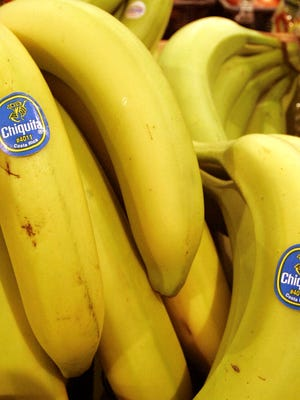 File photo shows Chiquita bananas are on display at a grocery store in Bainbridge, Ohio.
