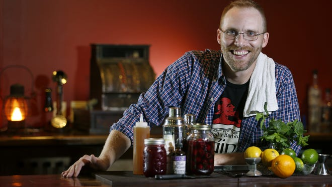 Adam Peterson runs the bar program at the Honeoye Falls Distillery.