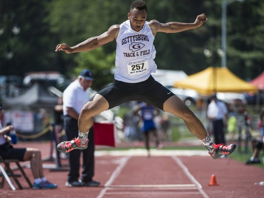 Gettysburg's Ravaughn Dillard wins the boys' Class AAA triple jump during the PIAA track and field championships  on Friday, May 27, 2016.