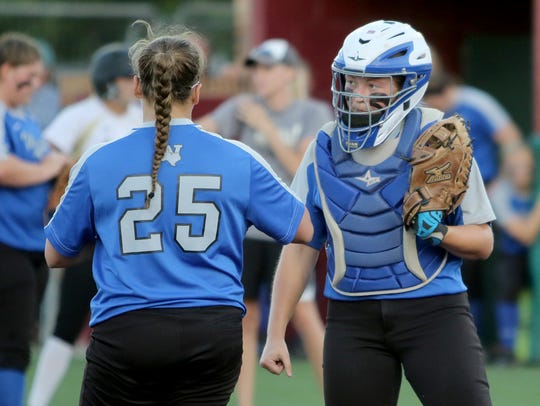 Windthorst catcher Emily Schroeder talks to Brooklyn