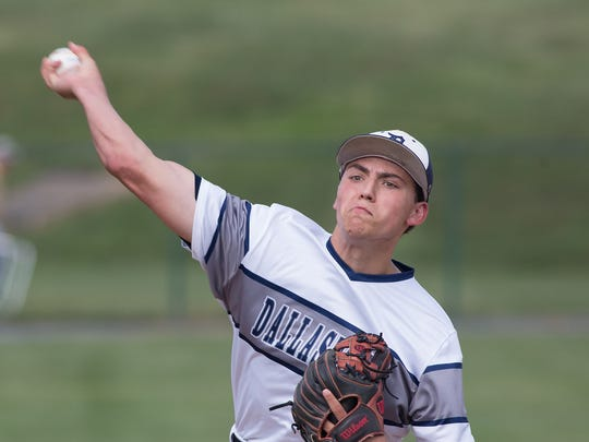 Starting pitcher, Nick Parker unloads his first pitch.  Dallastown defeated State College 6-1 in the PIAA Class 6A baseball semifinals Monday, June 12, 2017.