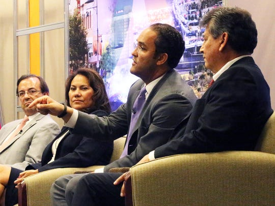 U.S. Rep. Will Hurd, R-Helotes, center, speaks Wednesday at a panel discussion at the Borderplex Alliance's U.S. Mexico Border Summit at the El Paso convention center. Other panelists were, from left: Ambassador Jose Antonio Zabalgoitia, deputy chief of mission for the Mexican Embassy in the U.S.; El Paso County Judge Veronica Escobar; and Alex Hinojosa, managing director of the North American Development Bank.