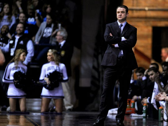 Butler head coach Brandon Miller watches as Xavier pulls away in the second half inside Hinkle Fieldhouse, Tuesday, February 11, 2014, in Indianapolis.