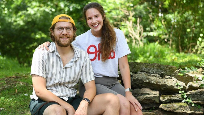 Alex McEvoy and Kate Regas, along with their dog, Piper, have returned to Ohio from San Francisco to avoid the coronavirus pandemic on the West Coast. The pair are spending the summer working remotely from her parents' home in Jackson Township.