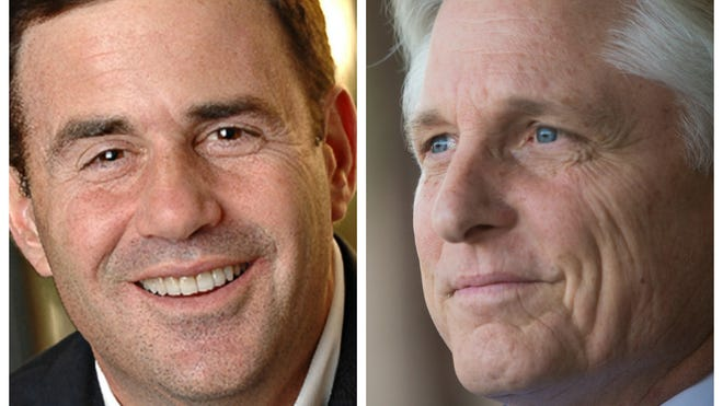 Arizona has Republican Doug Ducey (left) and Democrat Fred DuVal as gubernatorial candidates.