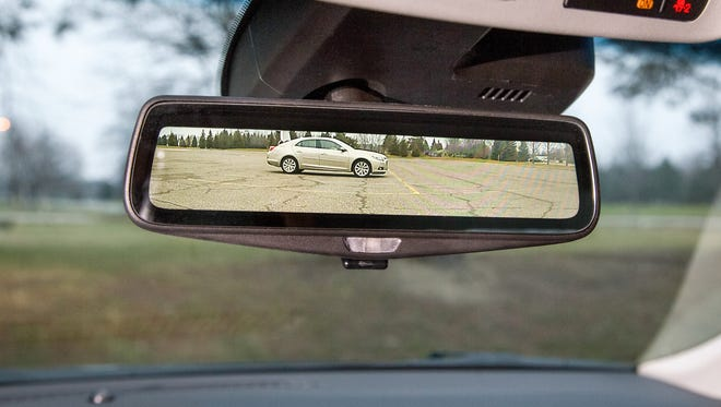 Cadillac's prototype rearview mirror capable of live-streaming an image from a camera mounted on the rear of a vehicle
